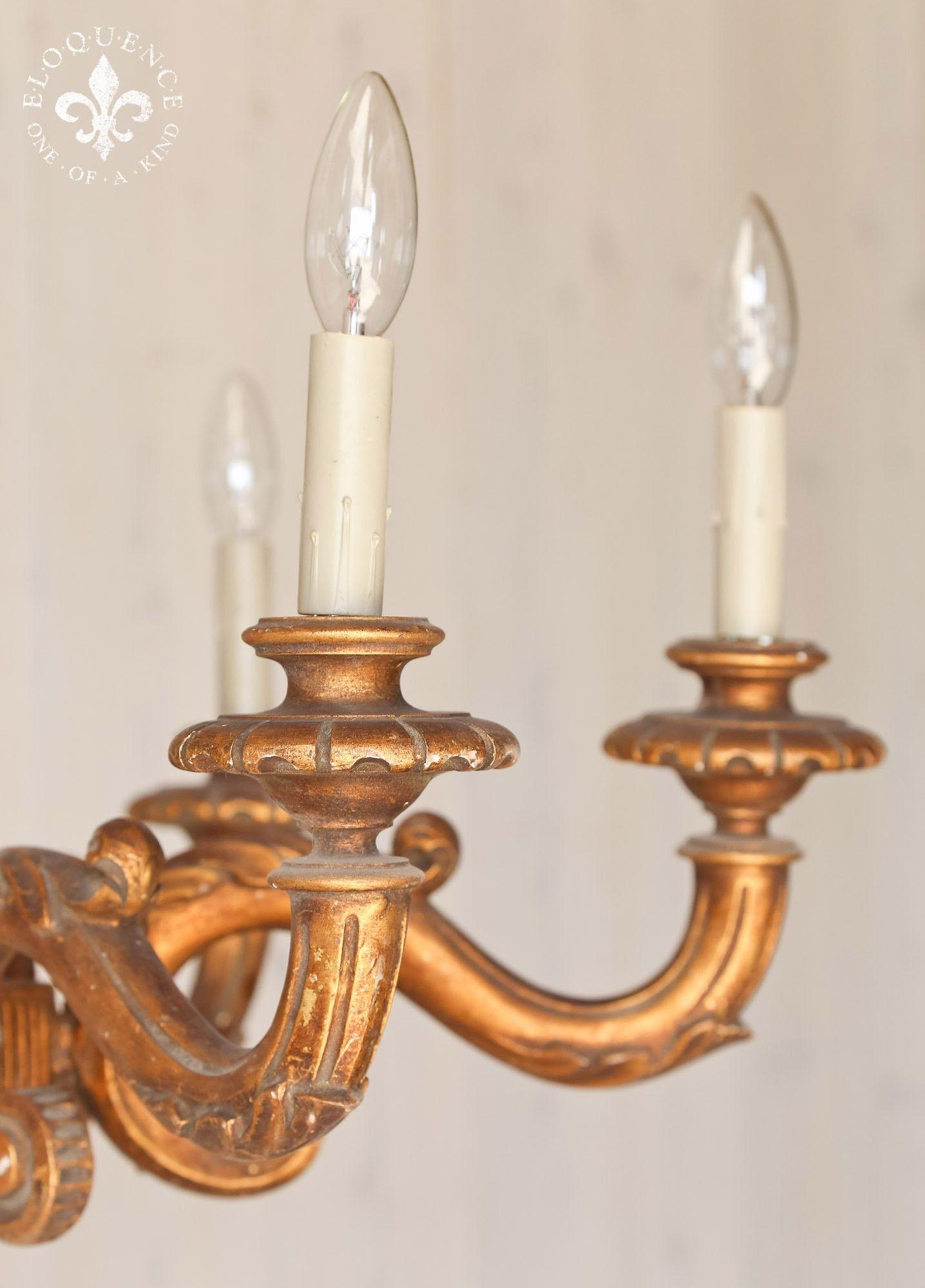 Handsome vintage carved wooden chandelier in deep gilt Lovely