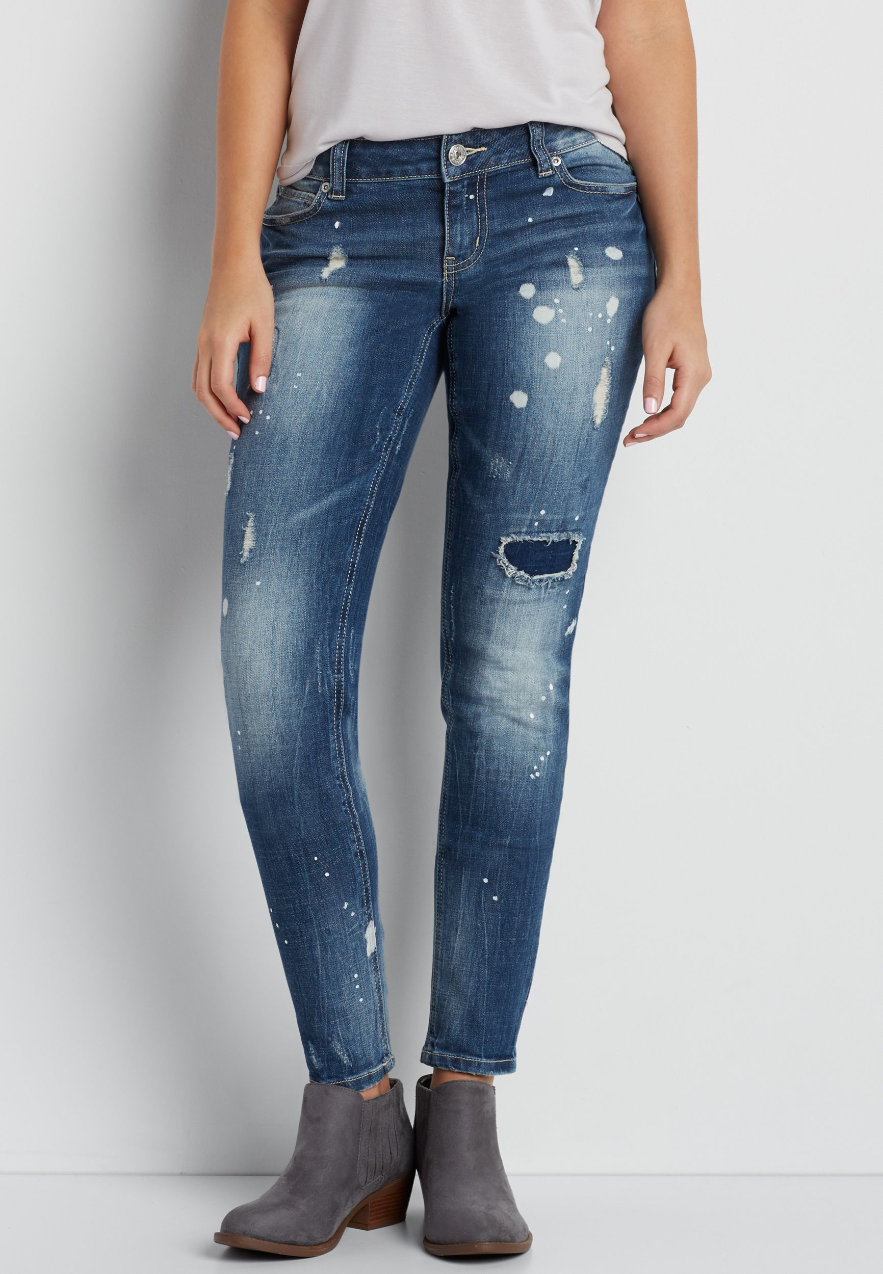 7e2f08ac12ec5 DenimFlex™ skinny jeans with destruction and paint splatter (original  price