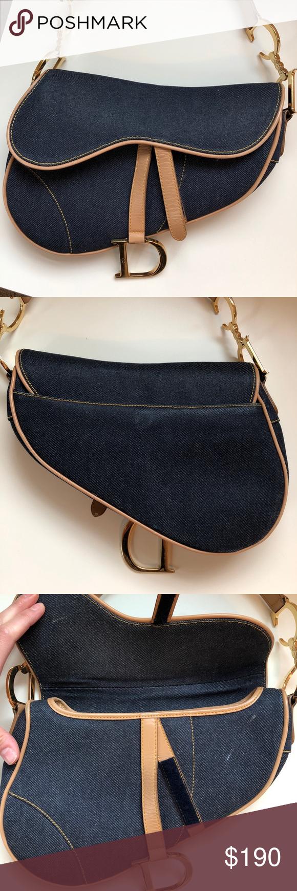 Authentic Dior Denim Saddle Bag Dior Saddle Bag Bags Christian Dior Bags