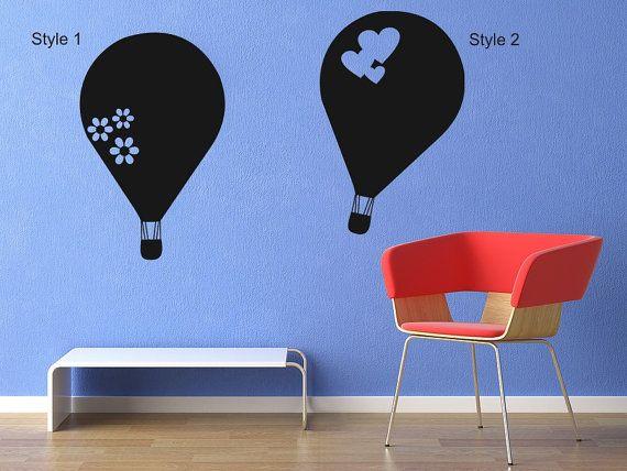 Chalkboard Vinyl Hot Air Balloons Wall Decal 2 Styles Chalk board wall decals