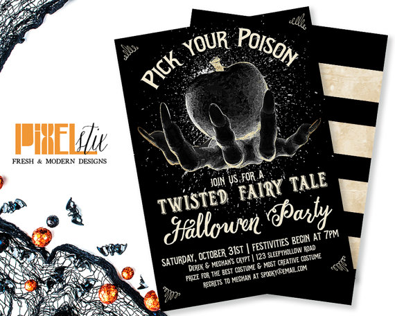 Pick Your Poison - Twisted Fairy Tale Halloween Party Invitation - halloween party flyer