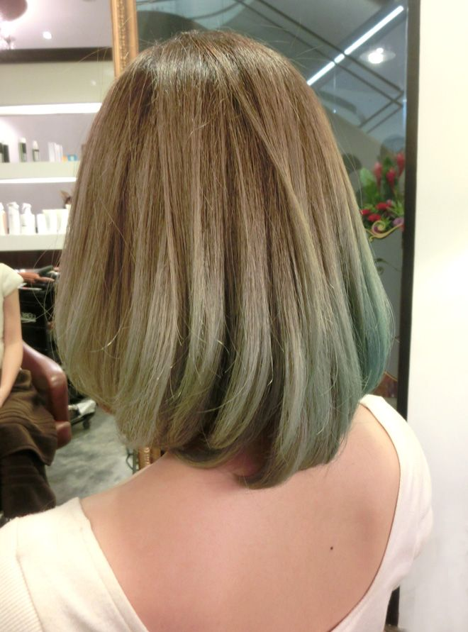 Horizontal Gradient Green Ash Green Hair Light Hair Color