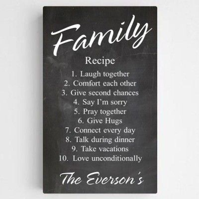 Personalized Family Recipe Canvas Sign-Chalkboard - $69.00
