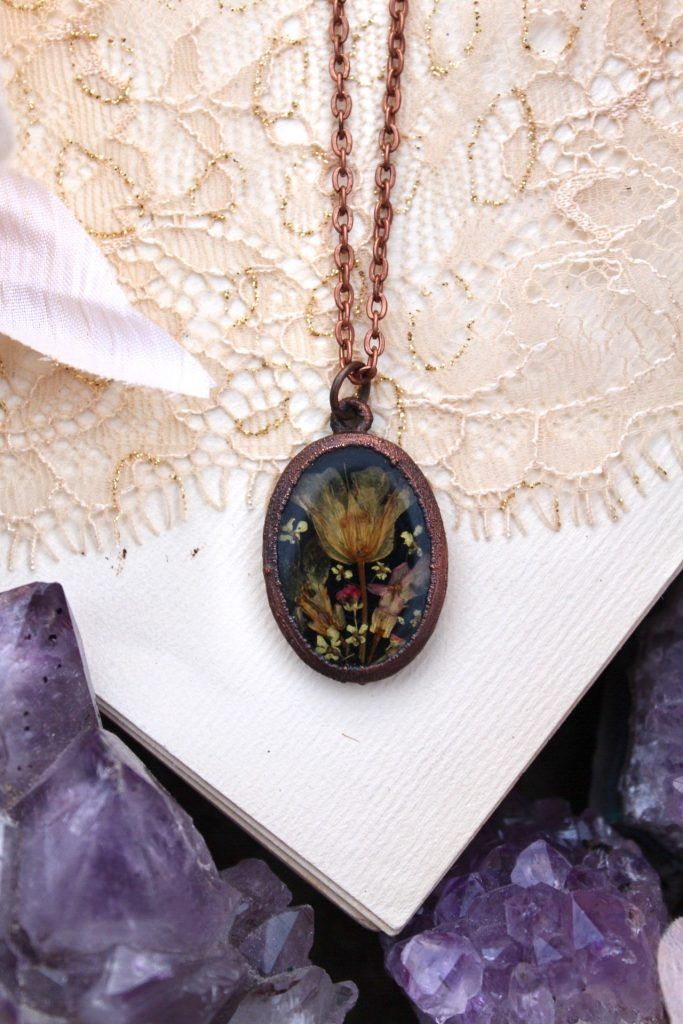 Photo of Vintage Flower Necklace with Little Pressed Petals in Golden Tones