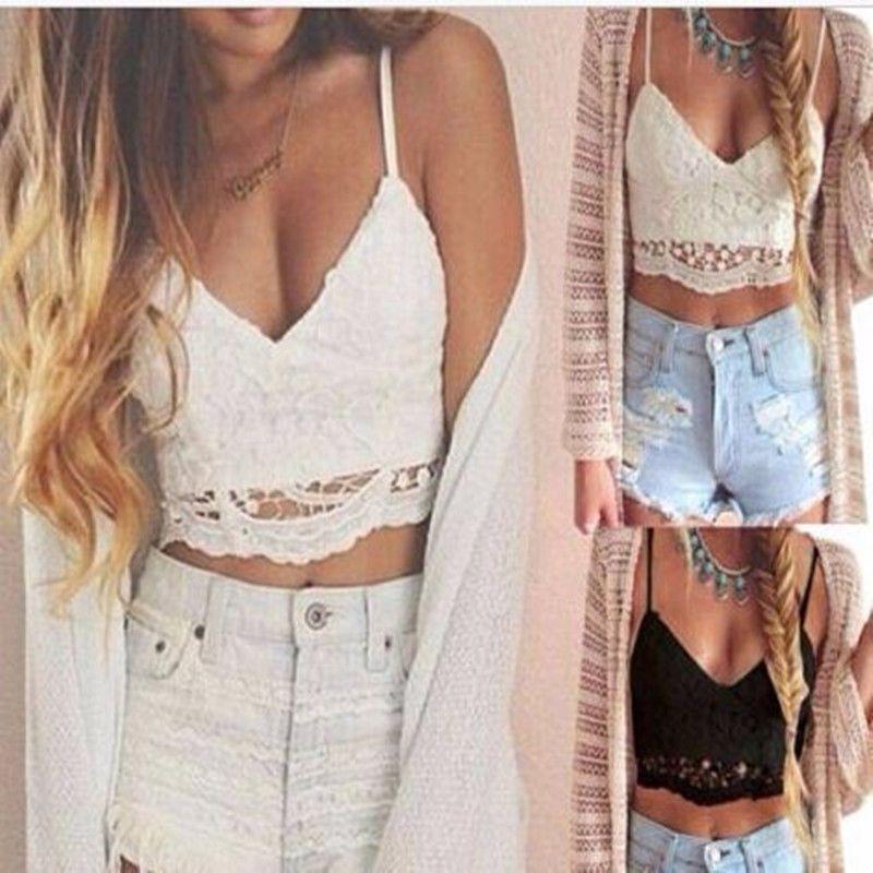 d744e4ff82317  3.75 - Women Crochet Lace Bralette Knit Bra Boho Beach Bikini Halter Cami  Tank Crop Top  ebay  Fashion
