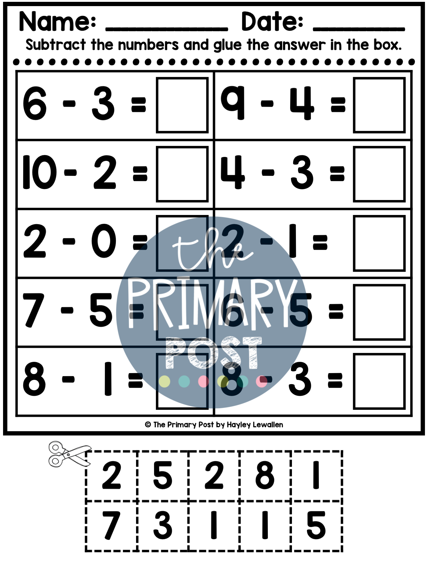 Subtraction To 10 Worksheets In