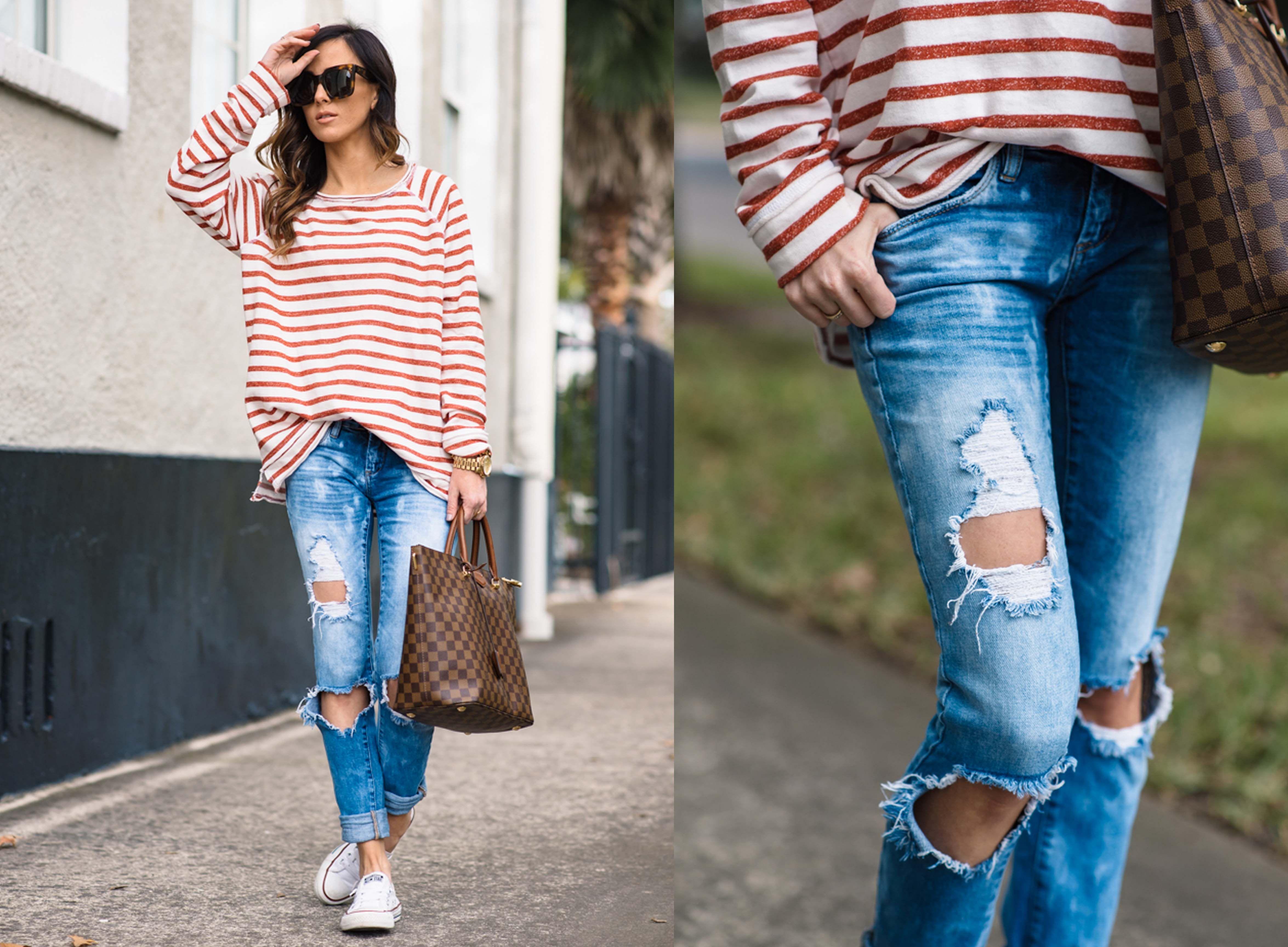 Ideas para combinar tus distressed jeans el finde