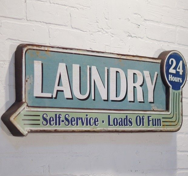 24 Hours Laundry Sign Laundry Signs Laundry Room Art Retro Sign