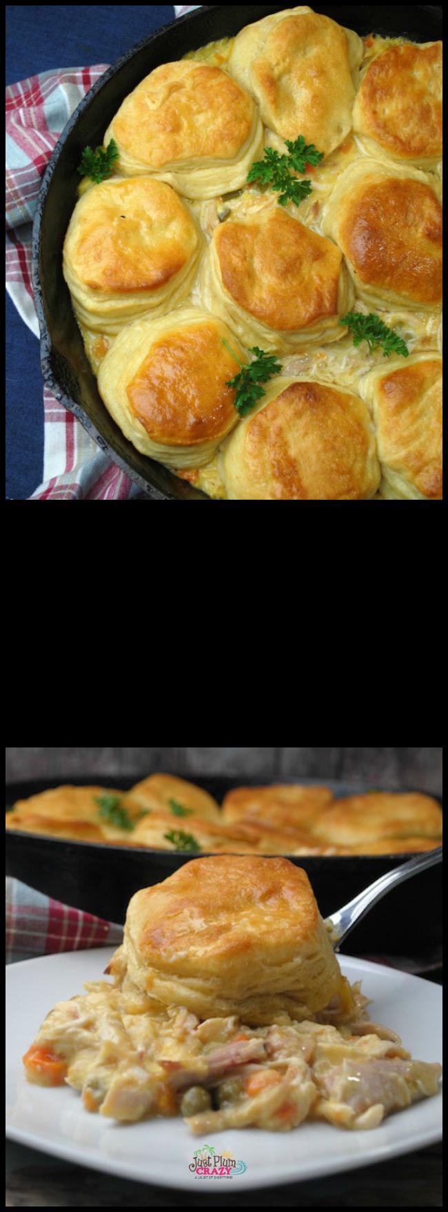 Cast Iron Skillet 4 Ingredient Chicken Pot Pie Recipe