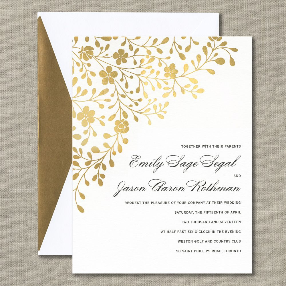 Gold Foil Stamped Floral Canopy Invitation | Wedding Invitations ...