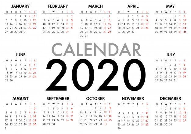 Calendario para la semana 2020 comienza   Premium Vector