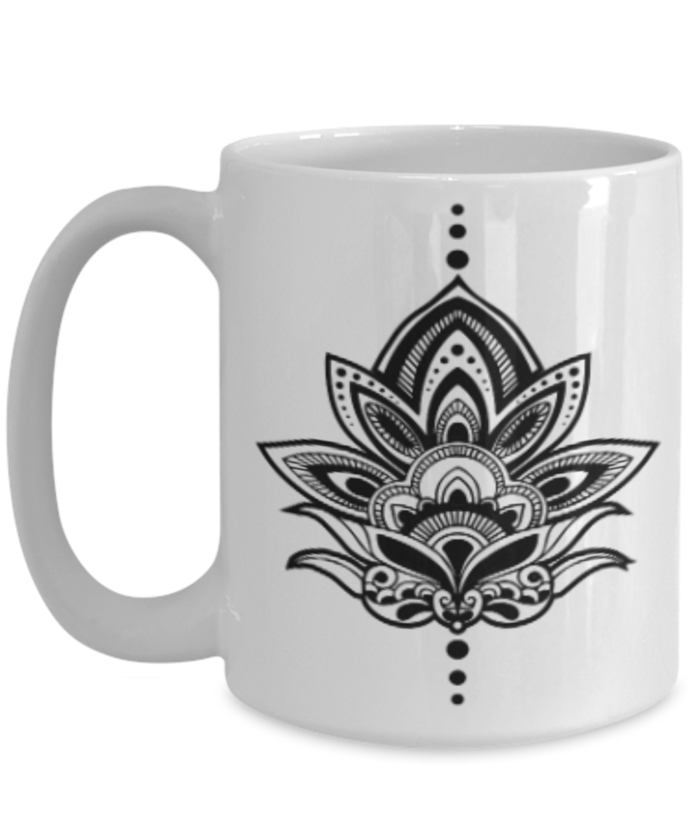 Lotus Coffee Mug 15 ounce Ceramic Mug Feel the ZEN of
