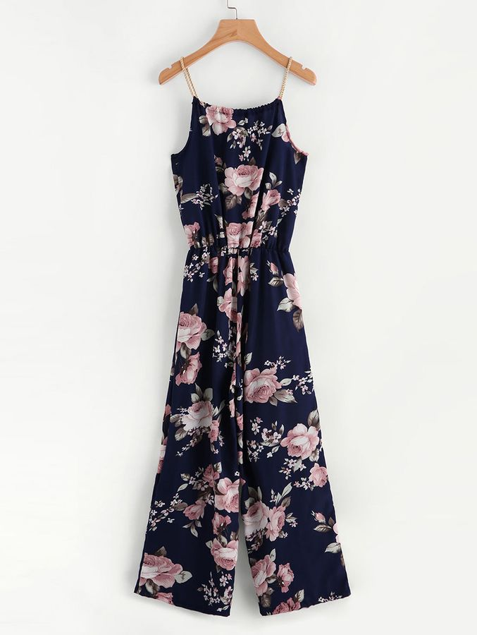 57a39e12ee Shein Floral Print Self Tie Cami Jumpsuit   Giselle   Jumpsuit ...