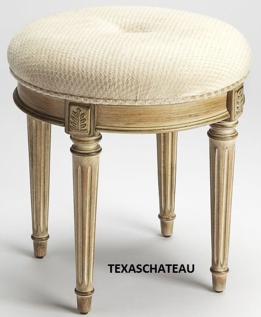 ROUND FRENCH CREAM WOOD VANITY STOOL ~ BEDROOM OTTOMAN CHAIR PAINTED  FURNITURE #Doesnotapply #FrenchCountry