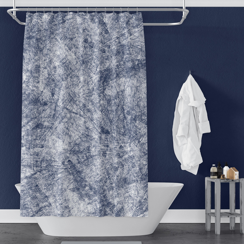 Navy Blue Farmhouse Distressed Shower Curtain Blue Shower