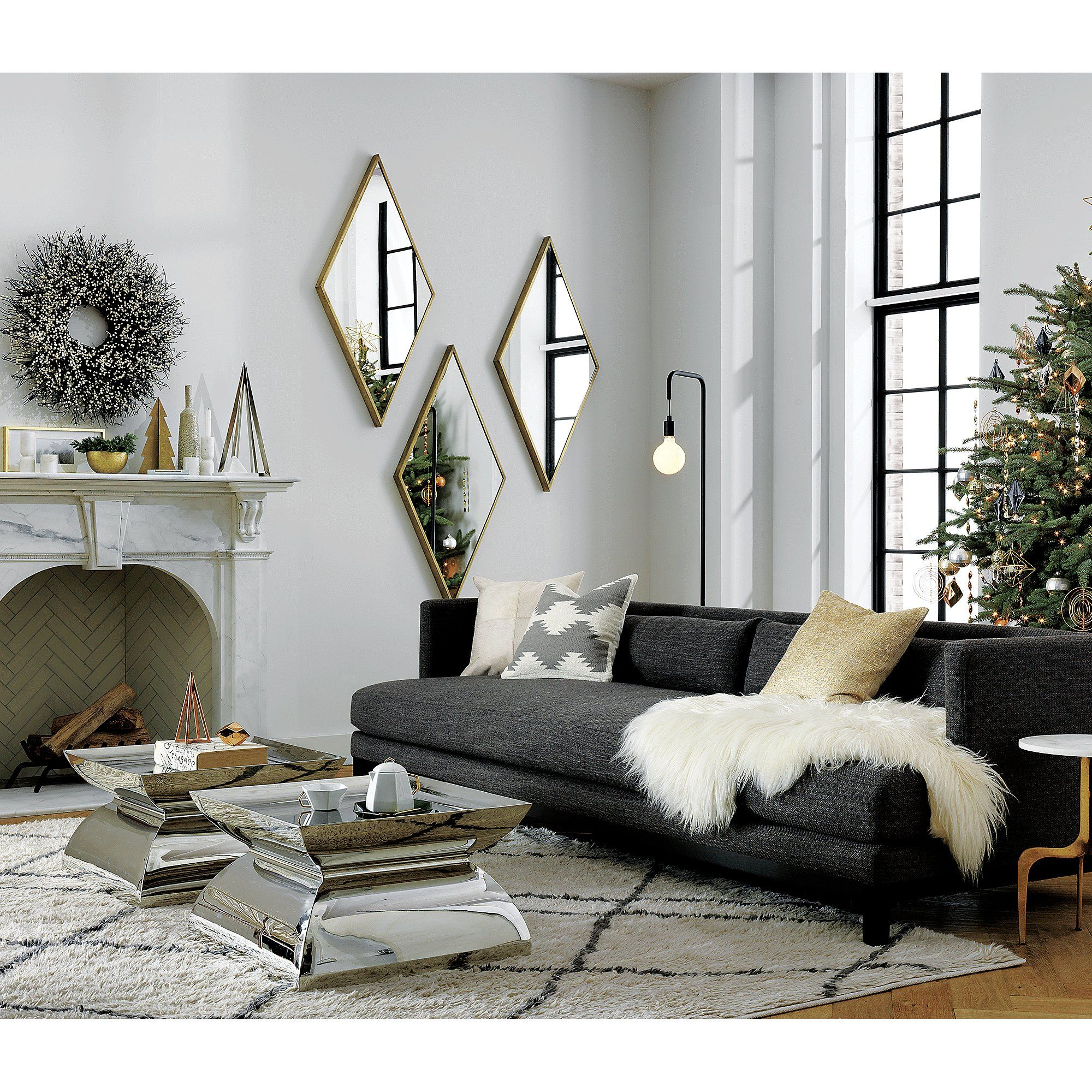Shop Diamond Brass 21 75 Quot X45 Quot Wall Mirror Four Sided Looking Glass Reflects A Beauti Mirror Wall Living Room Mirror Wall Bedroom Living Room Sofa #wall #mirror #living #room #decor