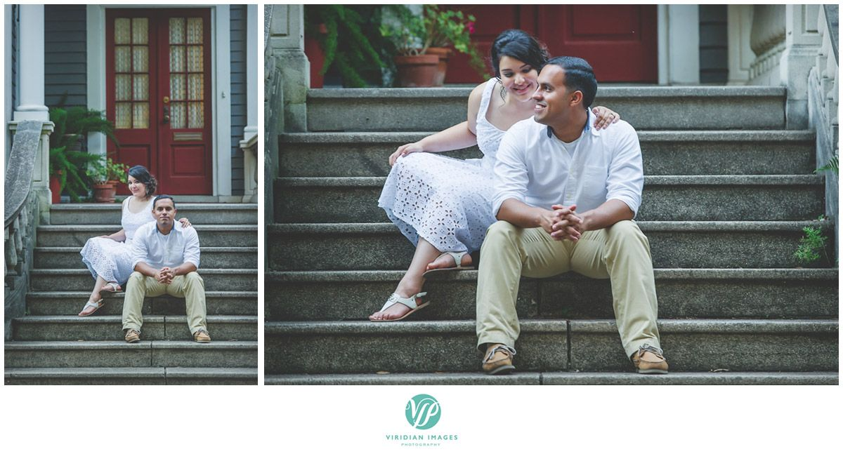 Sitting on the steps in front of southern antebellum homes Forsyth Park  #forsythpark #georgia #love #ido #engagement #savannah