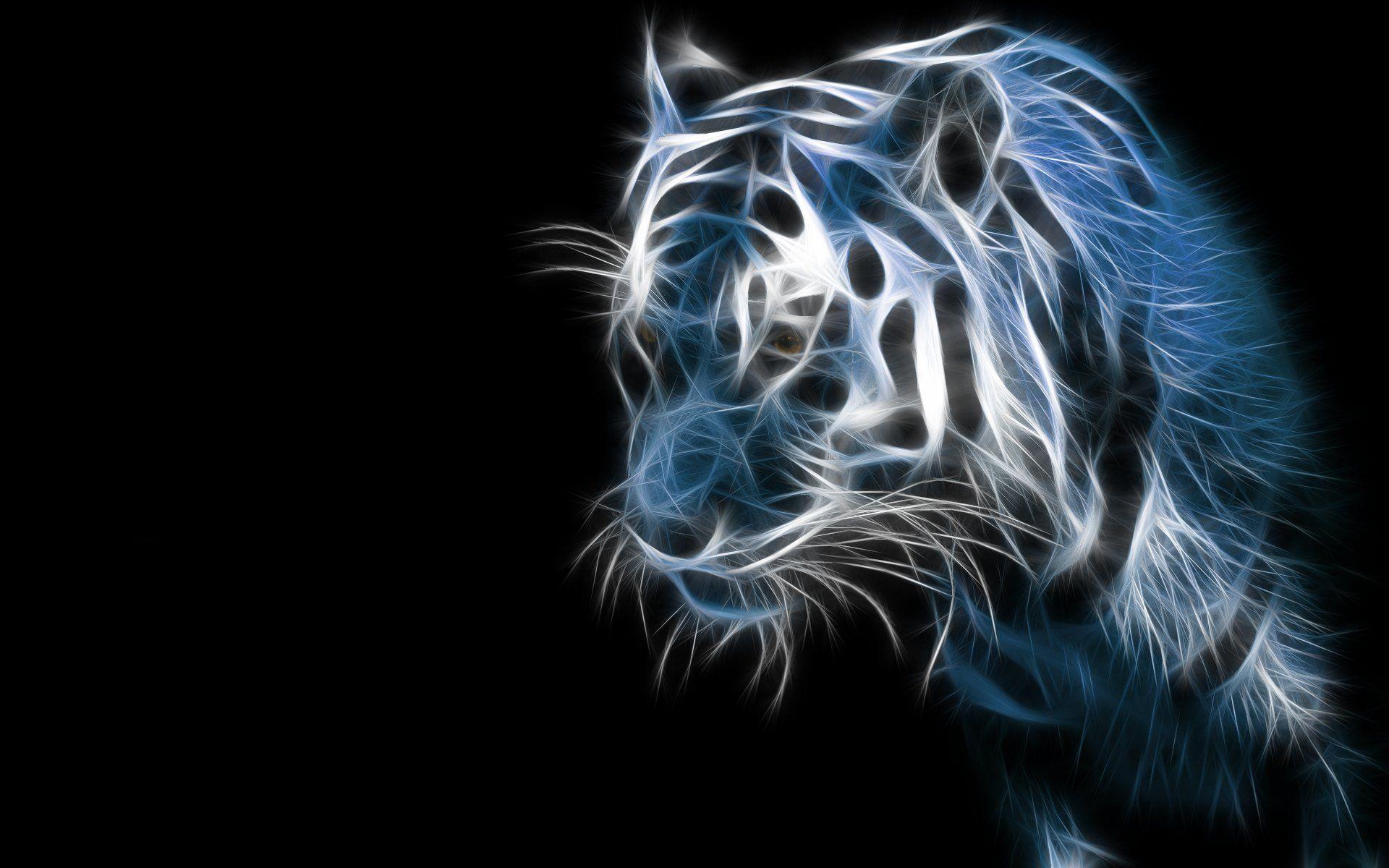 Animais Tigre Fractal Azul Artistico Cgi Papel De Parede Papel