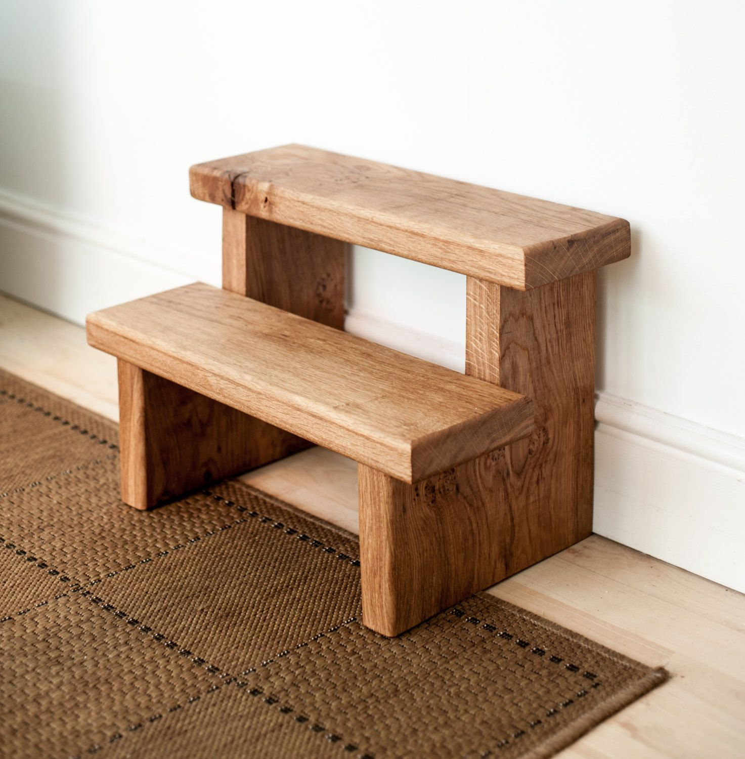 Rustic Solid Oak Step Stool By Knottedoakfurniture On Etsy