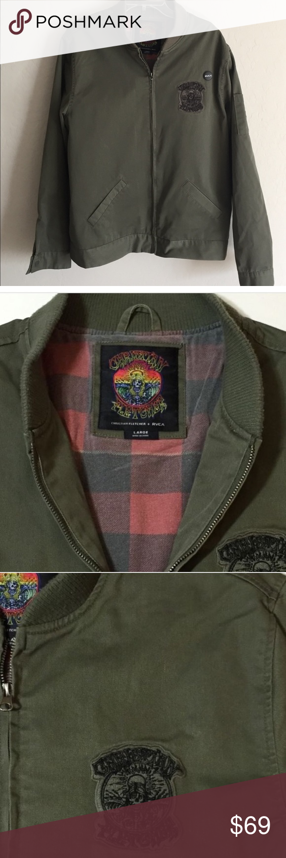 Rvca X Christian Fletcher Bomber Jacket Rvca X Christian Fletcher Bomber Jacket In Military Green Cotton Euc Rvca Jac Rvca Jacket Clothes Design Bomber Jacket [ 1740 x 580 Pixel ]