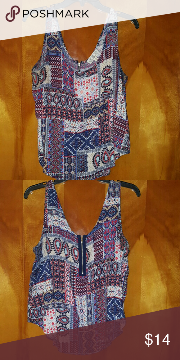 Pretty multicolored tank top Pretty multicolored tank top size Large very cute and summery Pink Rose Tops Tank Tops