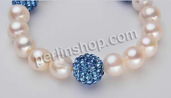 schönes 6-7mm Weiß Süßwasser Perle mit Muschel Blume Ohrringe