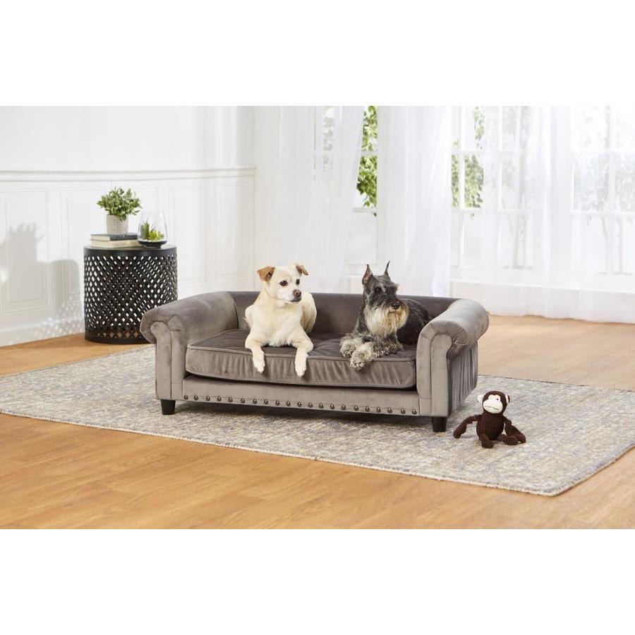 Enchanted Home Pet Grey Velvet Rectangular Dog Bed Co2786 16gry In 2020 Pet Sofa Dog Bed