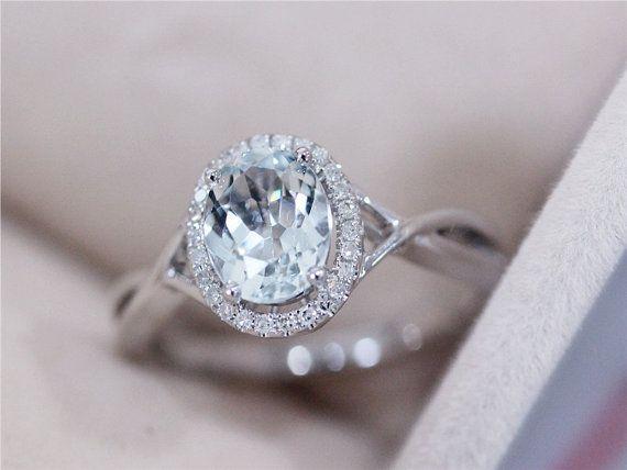 VS 6x8mm Blue Aquamarine Ring Solid 14K White Gold Oval Cut Blue Aquamarine Wedding Ring Aquamarine Engagement Ring Diamond Promise Ring