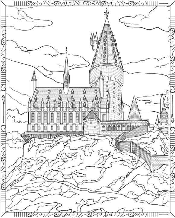 Hogwarts Castle Coloring Pages : hogwarts, castle, coloring, pages, Splendid, Harry, Potter, Hogwarts, Castle, Coloring, Book,, Pages,, Colors
