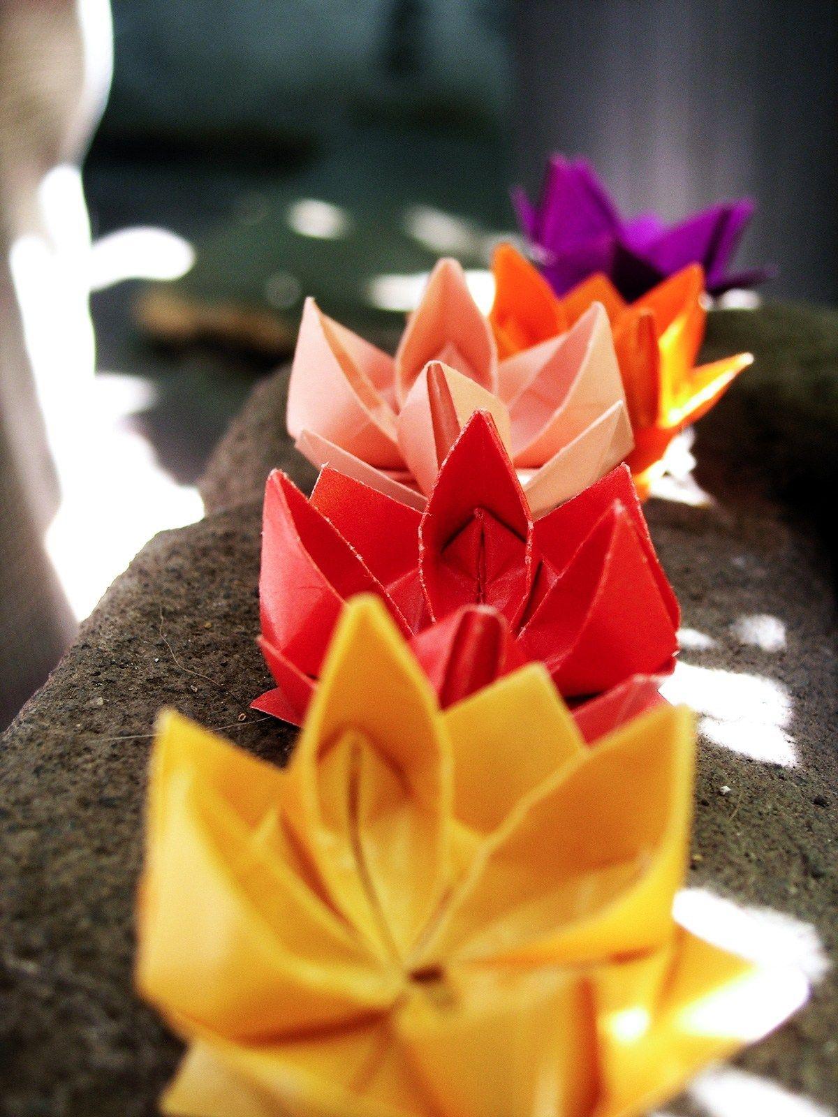 Origami Lotus Flower Tutorial - Paper Kawaii