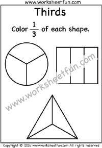 Fractions – Thirds – Coloring 1/3