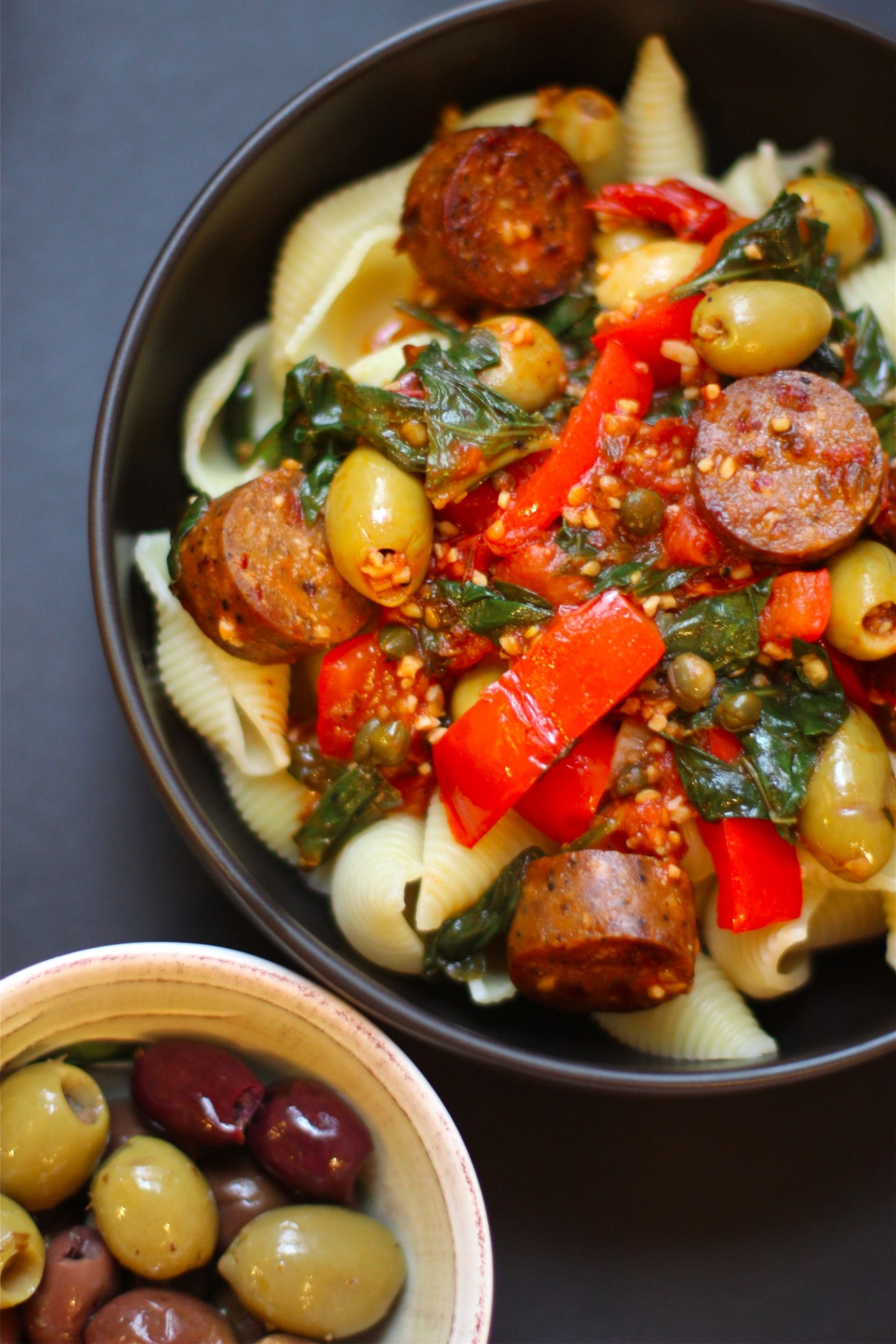 Meet The Shannons Pasta Alla Puttanesca With Vegan Sausage