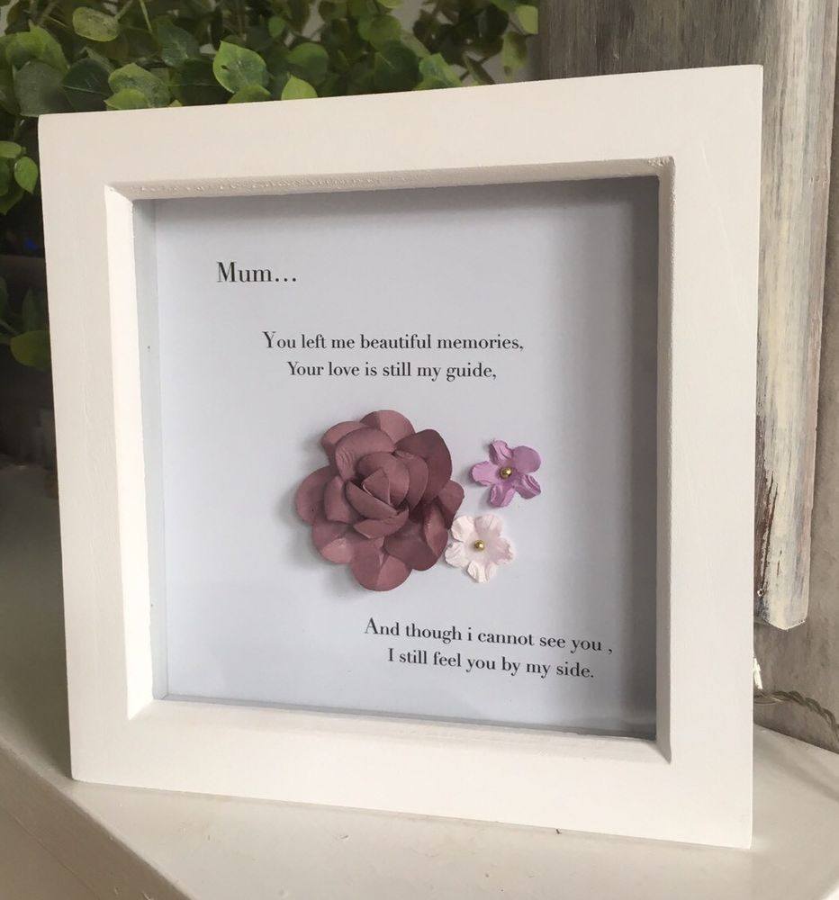Beautiful Memory Wooden Box Frame With Vintage Flowers For Mum/Nan ...
