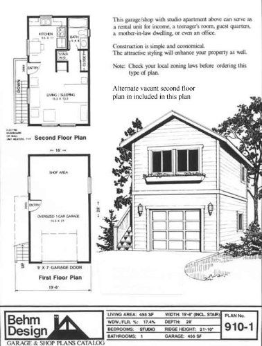 Garage Studio Apartment Plans garage plans: one car, two story garage with apartment, outside