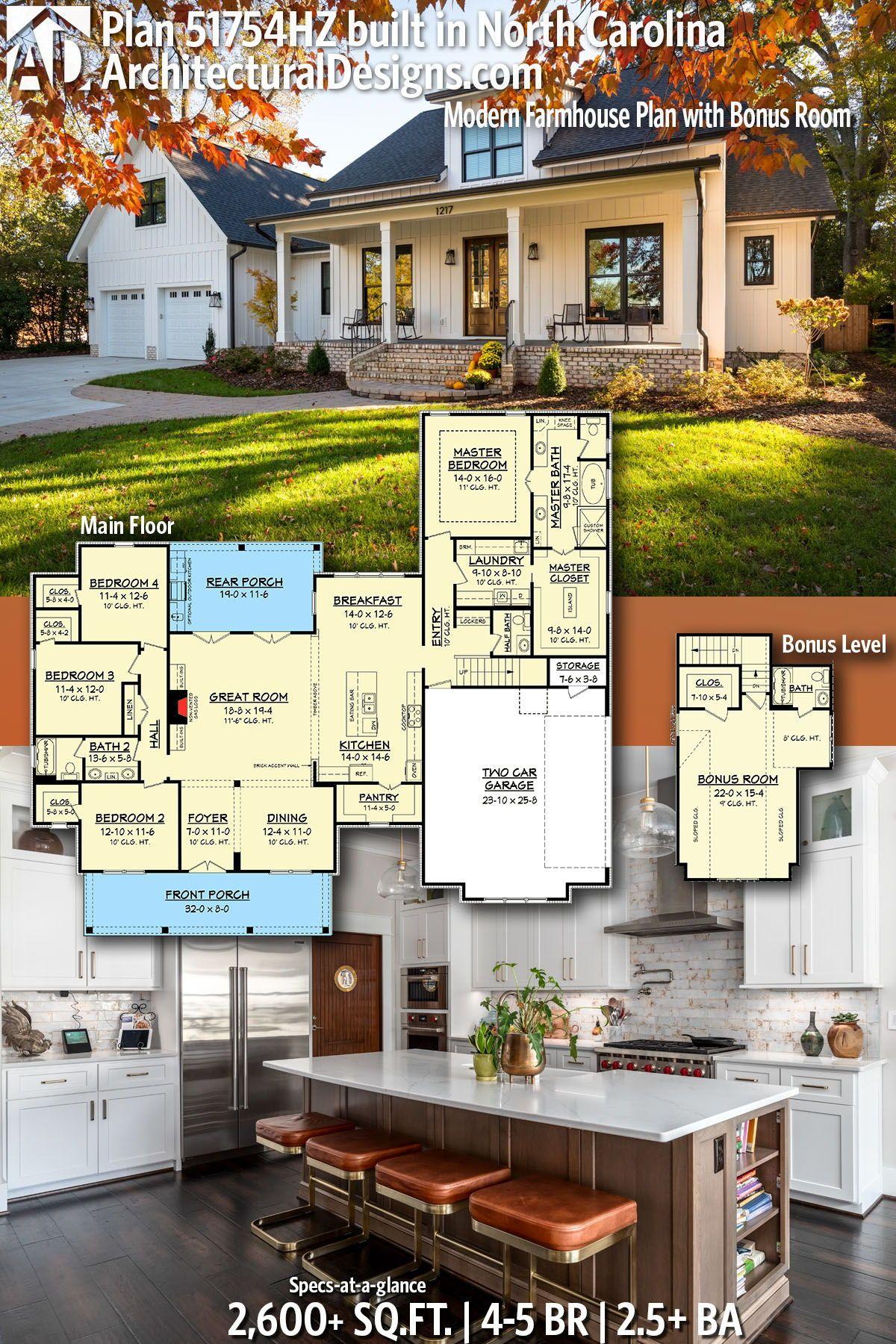 Plan HZ Modern Farmhouse Plan with Bonus Room