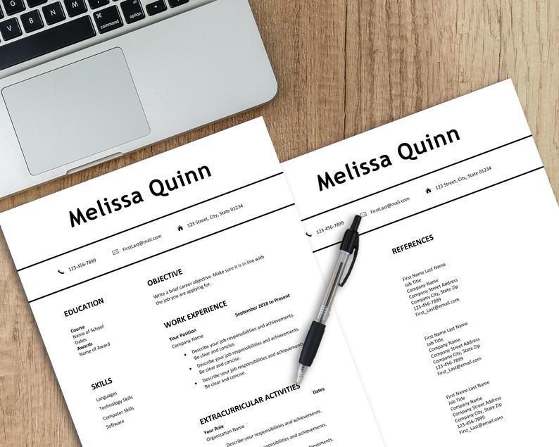 Student resume template Word, simple, modern, clean, easy