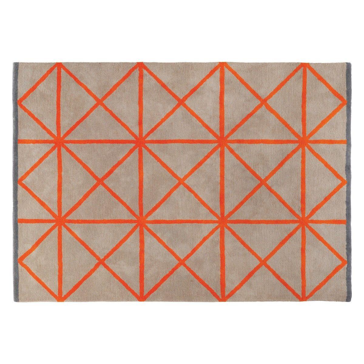 Grid Large Taupe And Orange Rug 170 X
