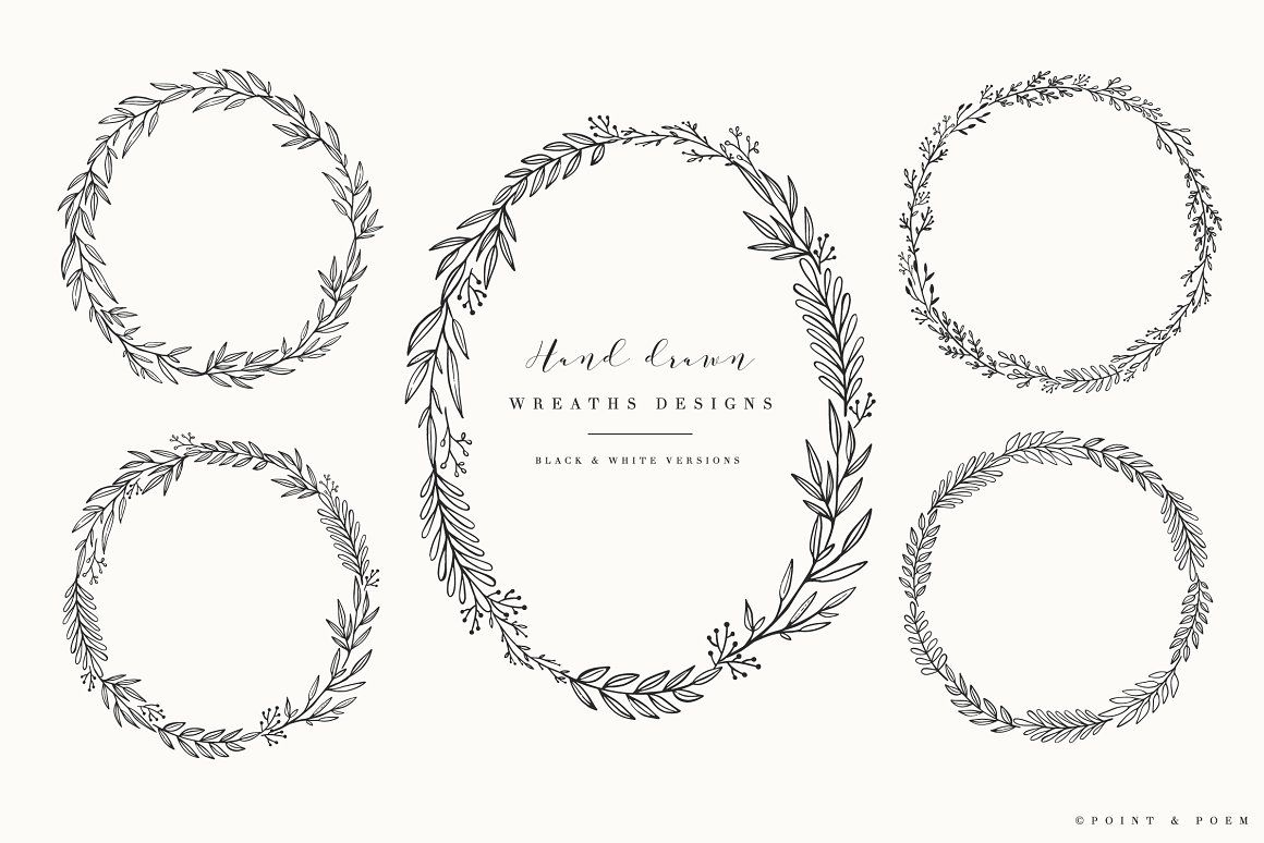 Round digital frames and borders Chalk wedding White frame clipart collection Elegant floral wreath clip art Leaf circle frame clipart