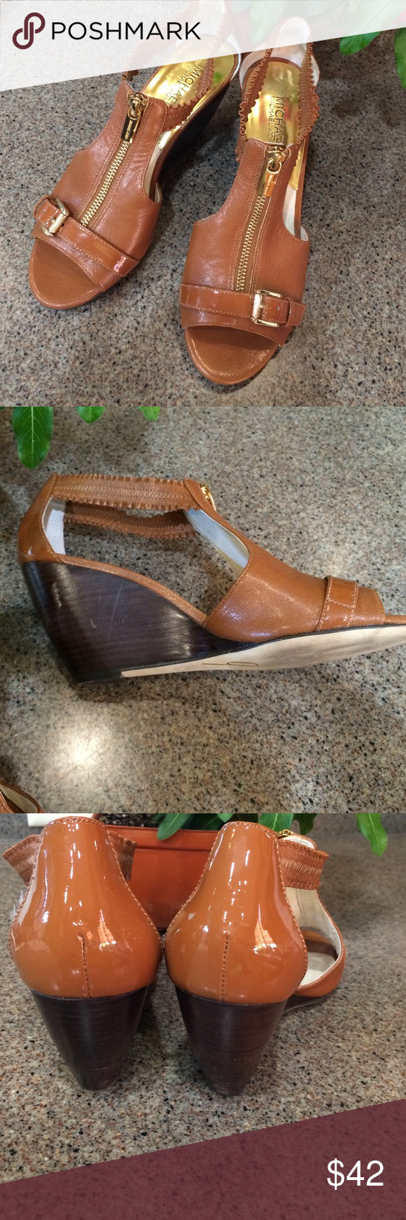 0bc7af1f2c4 Carmel colored leather with patent leather trim across toe and heel cup. 3