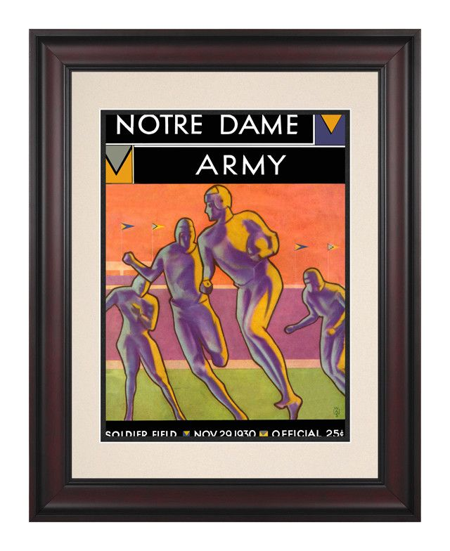 1930 Notre Dame Fighting Irish vs Army Black Knights 10 1/2 x 14 Framed Historic Football Poster