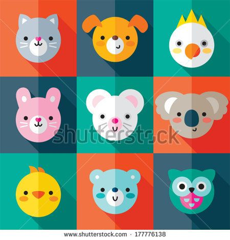 Set of flat animal and bird face icons in bright retro colors. Minimal retro design, long shadow effect. For stickers, labels and tags, card...