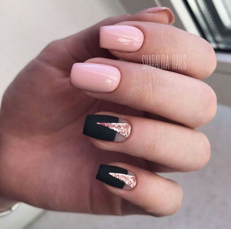Pink Nails With Black And Rose Gold Glitter Accent Nail With