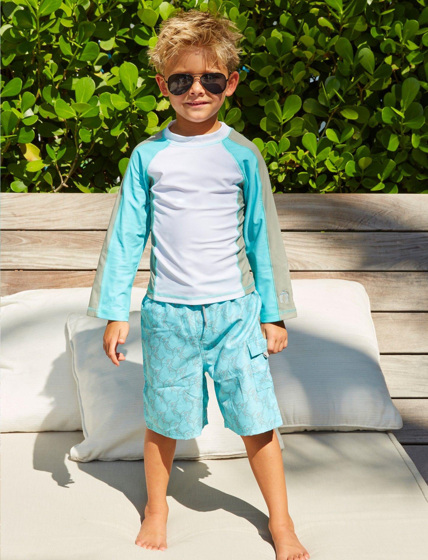 db0f9596a9 Little Boys Grey Swordfish Rashguard Set, 50+UPF Sun Protective Clothing,  Cabana Life