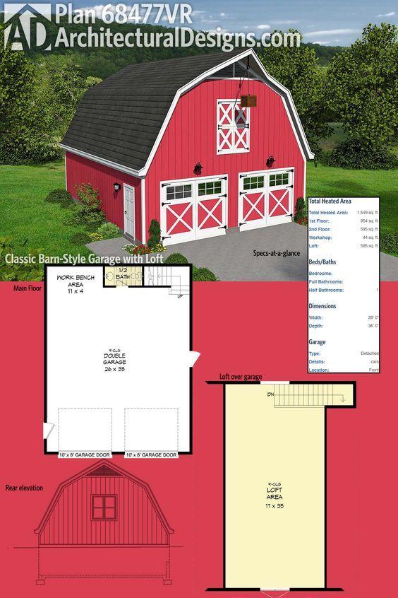 Plan 68477vr Classic Barn Style Garage, Barn Style Garage Plans