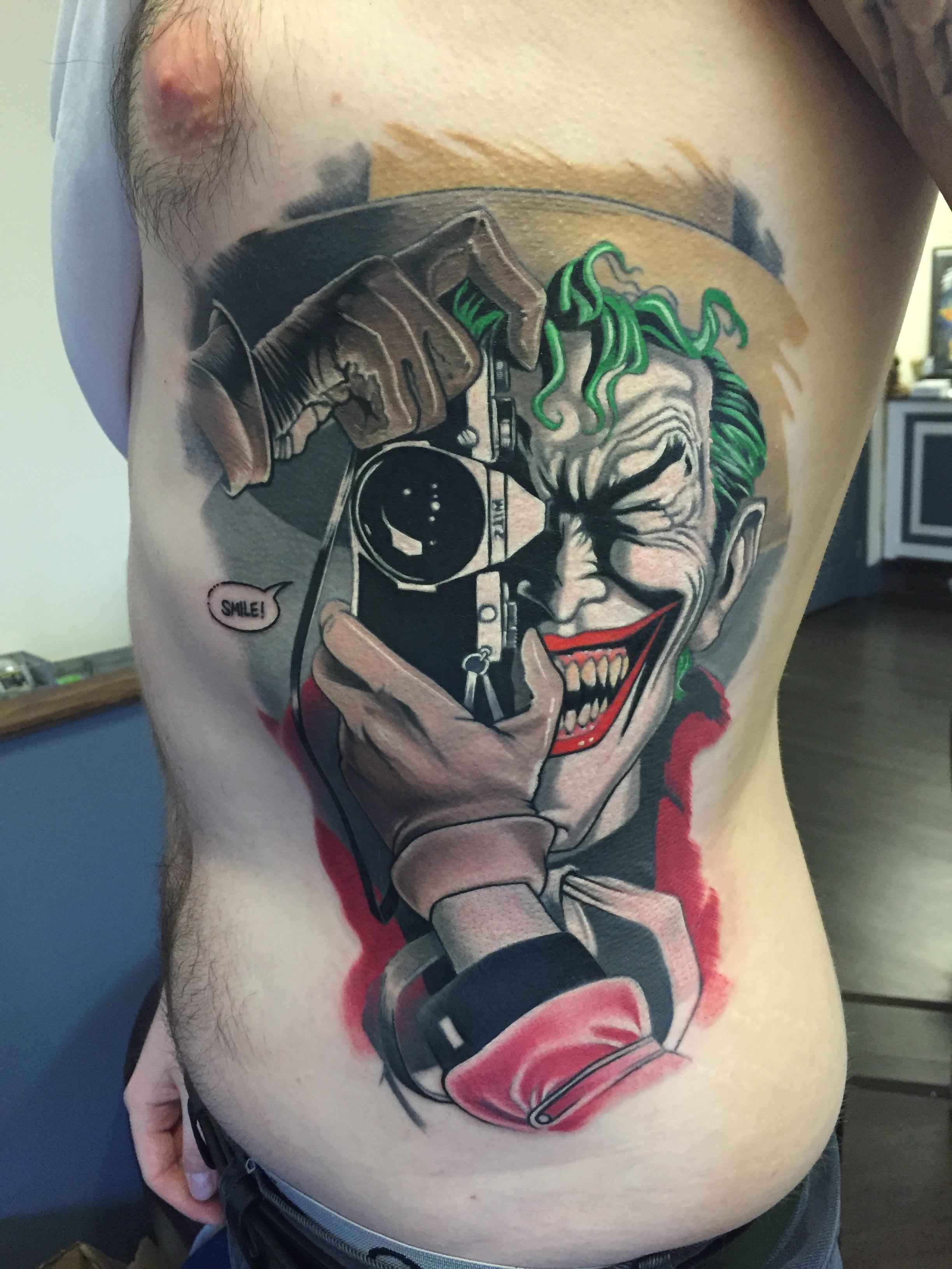 New joker tattoo by polish dan at true colour york uk for Smile more tattoo