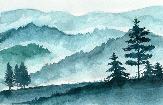 Mountains Landscape Original Watercolor Landscape Painting
