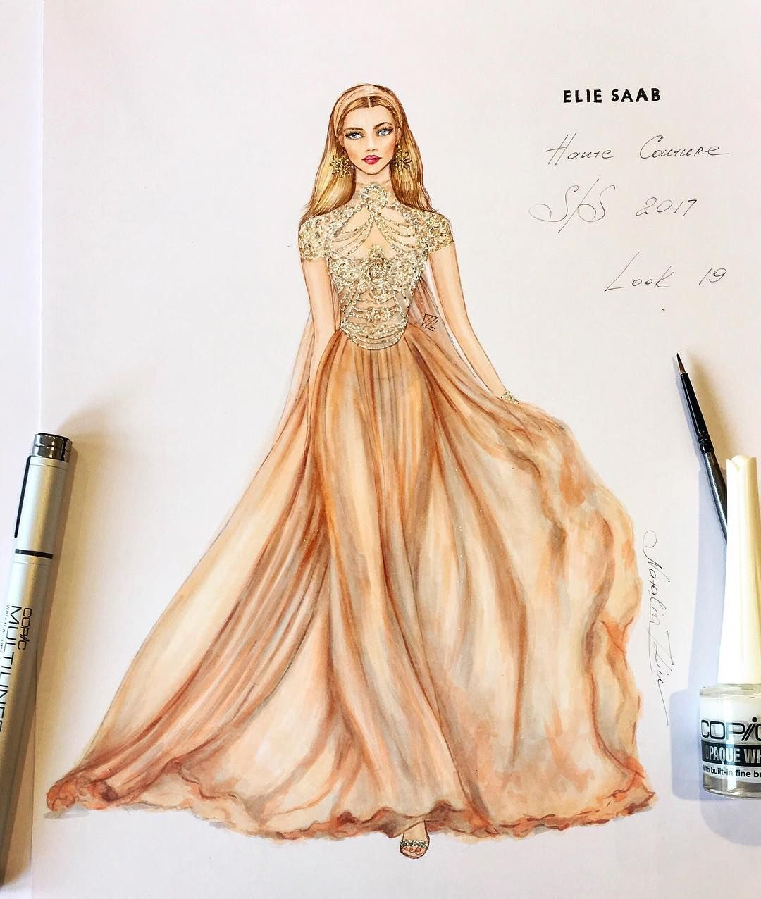 Natalia zorin lou marker sketch of elie saab haute for Haute design
