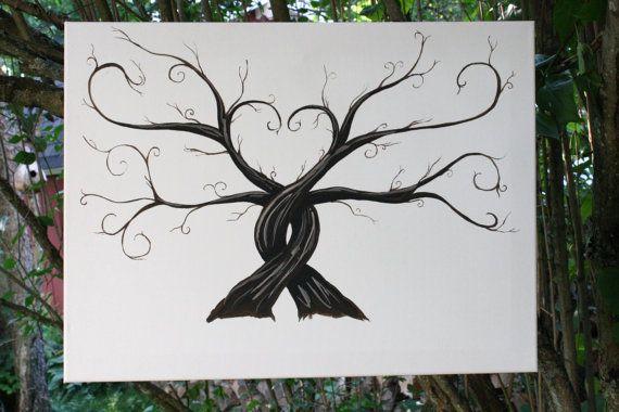 Wedding Thumbprint Trees  Alternative Guest Book by BlueEyedLass, $100.00