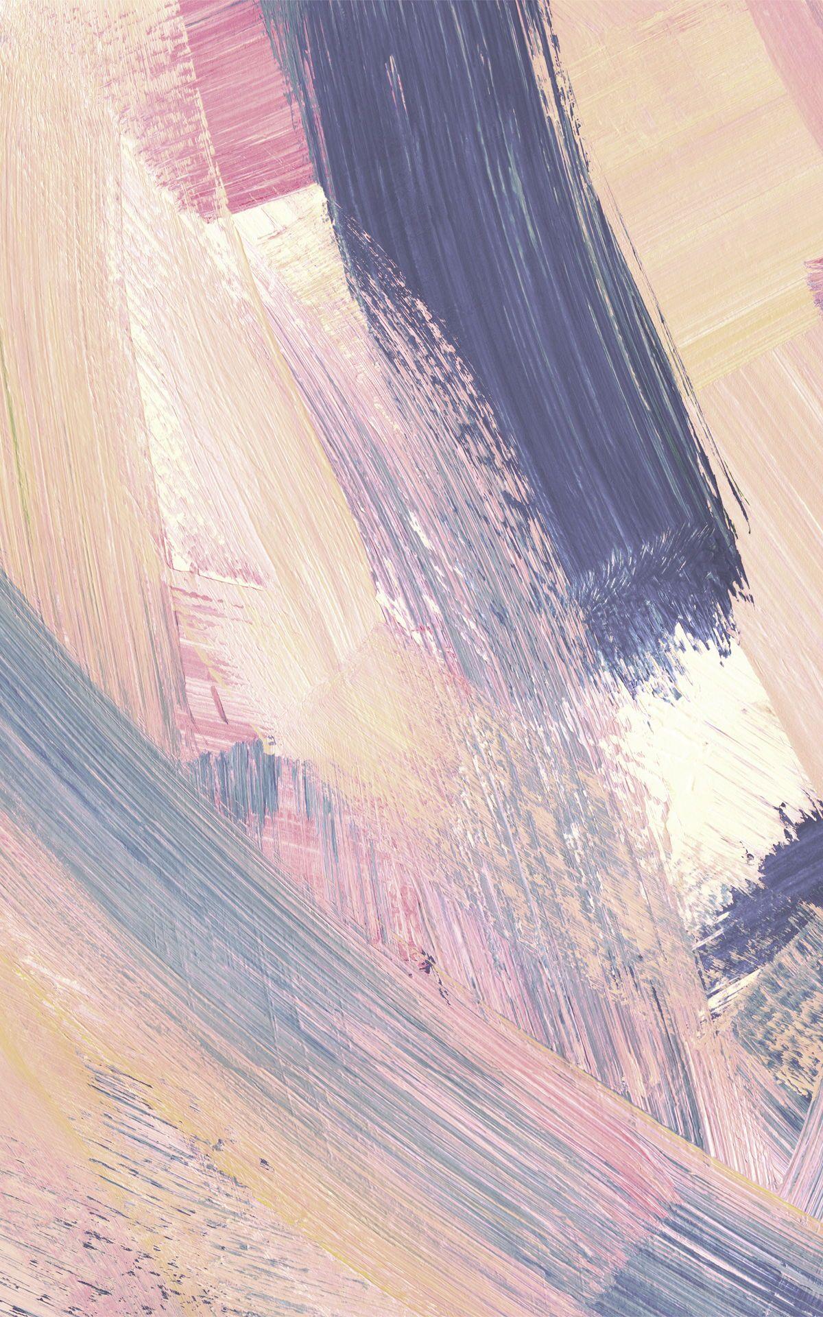 Pink & Peach Abstract Paint Brush Strokes Wallpaper   MuralsWallpaper