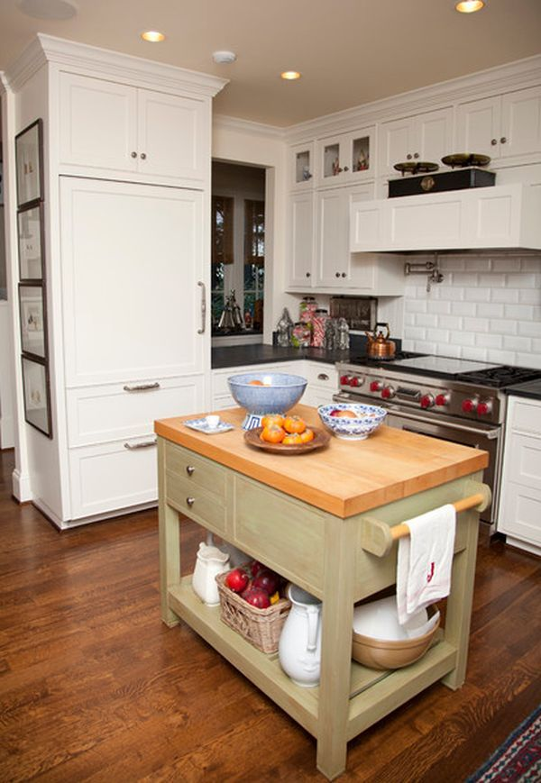 Perfect Small Kitchen With A Traditional Interior And The Island As A Focal Point.  Small Storage Idea